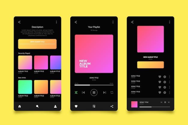 Interfaccia dell'app del lettore musicale Vettore gratuito