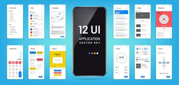 Interfaccia dell'app mobil. ui, modelli di wireframe schermo ux. disegno vettoriale dell'applicazione touchscreen Vettore Premium