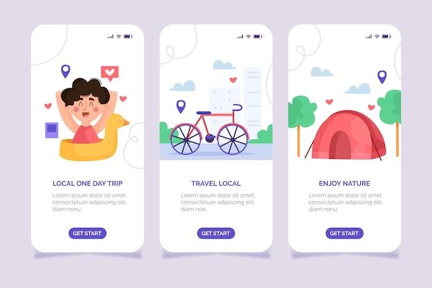 Interfaccia dell'app per il turismo locale creativo Vettore gratuito