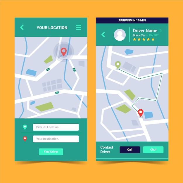 Interfaccia dell'app taxi Vettore gratuito