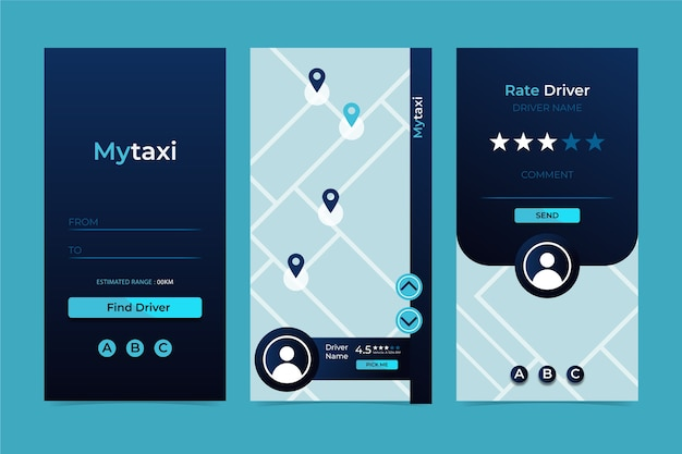 Interfaccia dell'app taxi Vettore gratuito