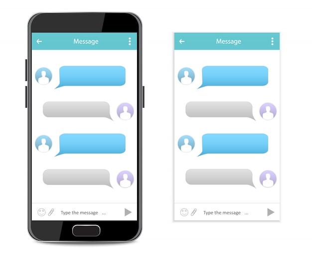 Interfaccia della chat telefonica Vettore Premium