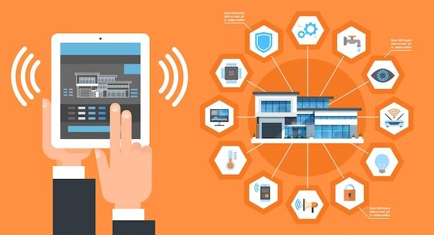 Interfaccia di applicazione della casa intelligente sul concetto di automazione del sistema di controllo della camera moderna della compressa di digital Vettore Premium