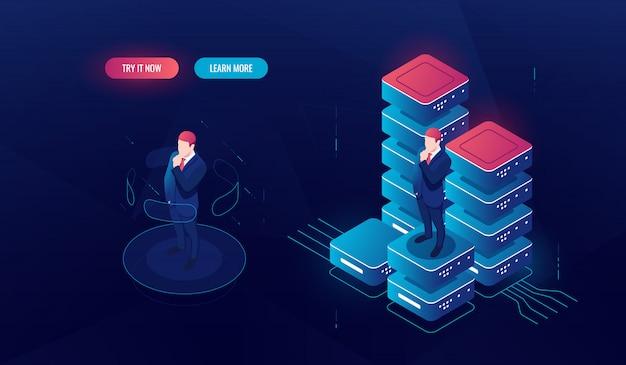 Interfaccia di realtà virtuale, elaborazione di big data, analisi dei dati e report, l'uomo rimane sulla piattaforma Vettore gratuito