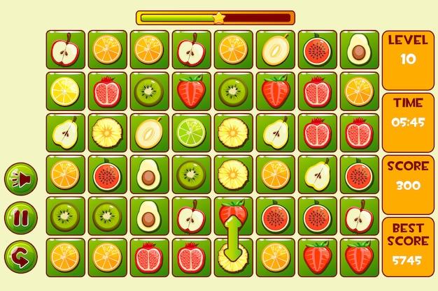Interfaccia fruit match 3 games. frutti diversi, icone di risorse di gioco e pulsanti Vettore Premium