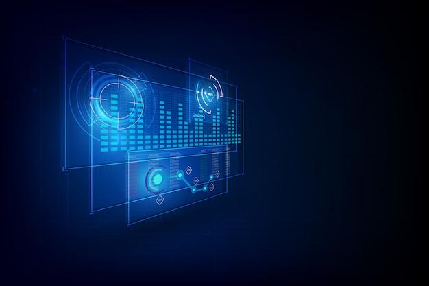 Interfaccia grafica hud concetto cyber innovativo Vettore Premium