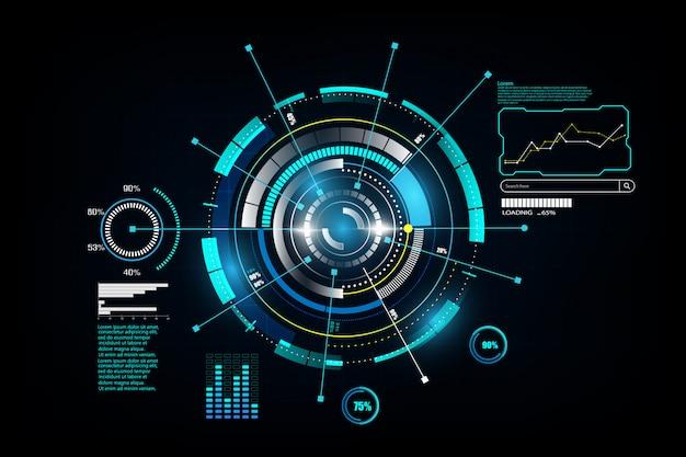 Interfaccia hud networking tecnologico futuristico Vettore Premium