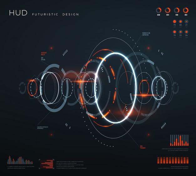 Interfaccia hud virtuale futuristica. Vettore Premium