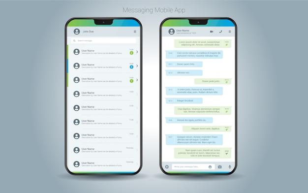 Interfaccia mobile per app di messaggistica Vettore Premium