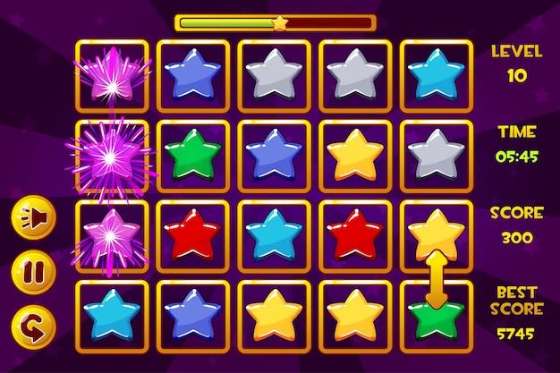 Interfaccia star match3 games. stelle multicolori, icone delle risorse di gioco e pulsanti Vettore Premium