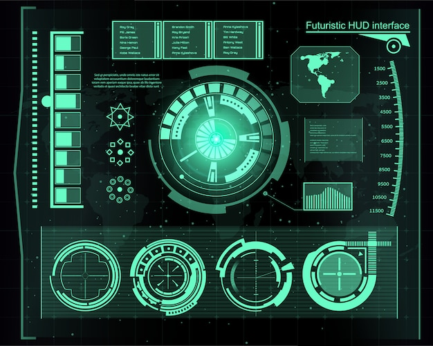 Interfaccia tecnologia futuristica hud sfondo dell'interfaccia utente. Vettore Premium