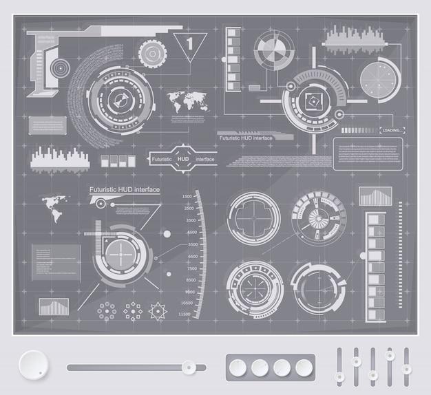 Interfaccia tecnologia futuristica hud ui background. Vettore Premium