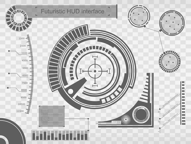 Interfaccia tecnologia futuristica hud ui background. Vettore Premium