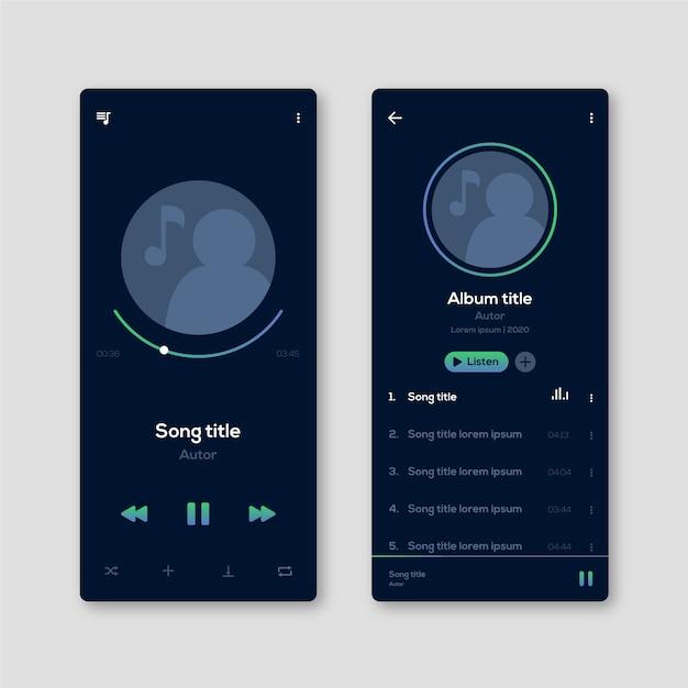 Interfaccia utente del profilo e app per le note musicali Vettore gratuito