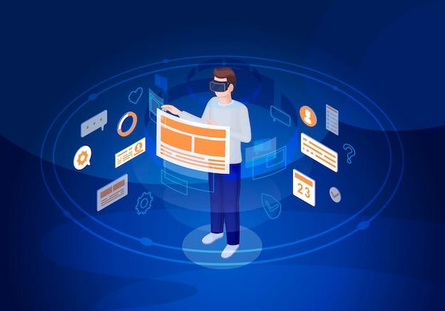 Interfaccia utente di realtà virtuale isometrica Vettore Premium