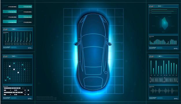 Interfaccia utente futuristica. hud ui. interfaccia utente di tocco grafico virtuale astratta. auto Vettore Premium