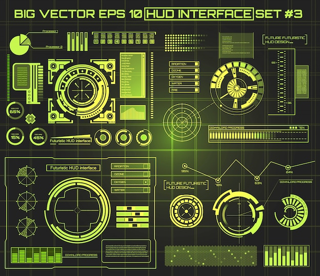 Interfaccia utente touch virtuale futuristica hud. Vettore Premium