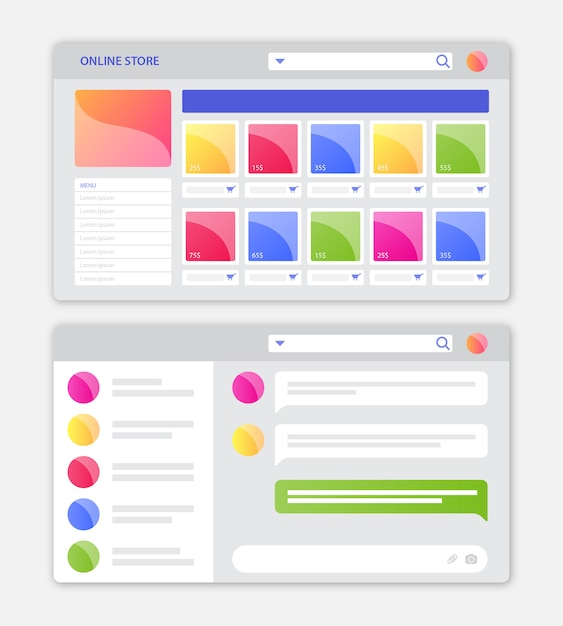 Interfaccia web del negozio online con design piatto Vettore Premium