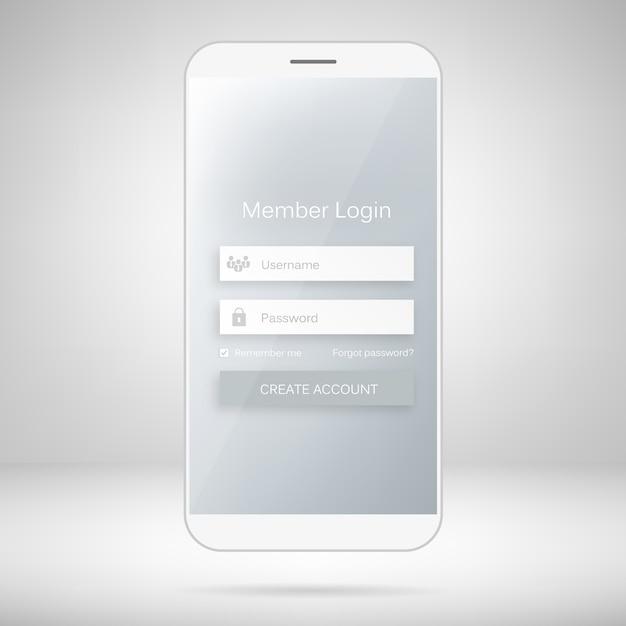 Interfaccia web mobile form di accesso membri. Vettore Premium