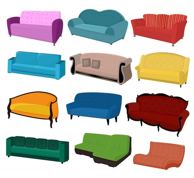 Interior design ammobiliato del sedile di divano della mobilia di vettore del sofà all'insieme dell'arredamento domestico dell'appartamento del divano moderno del sofà-letto della poltrona isolato Vettore Premium