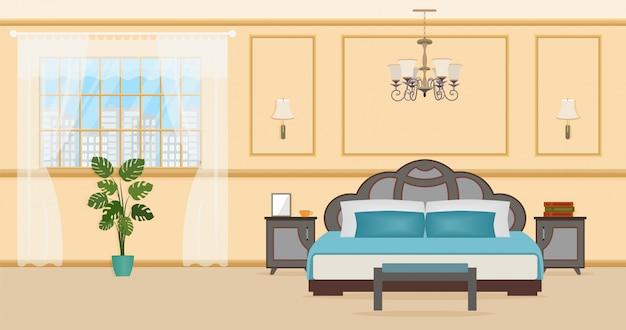 Interior design camera da letto con mobili tra cui letto Vettore Premium