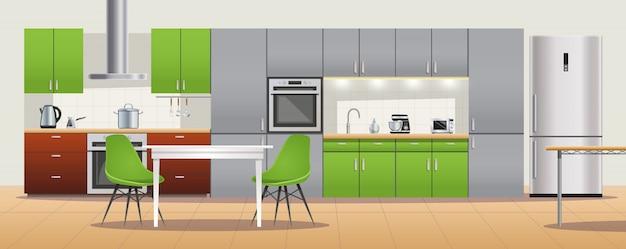 Interior design cucina moderna Vettore gratuito