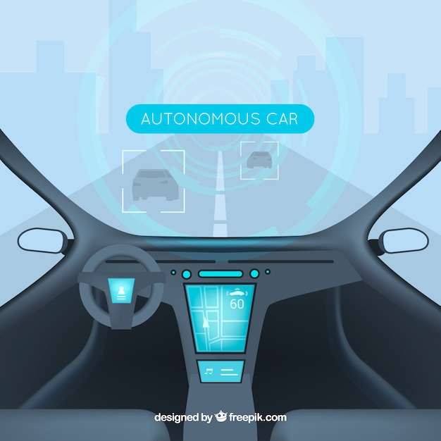 Interior design futuristico di auto autonoma Vettore gratuito