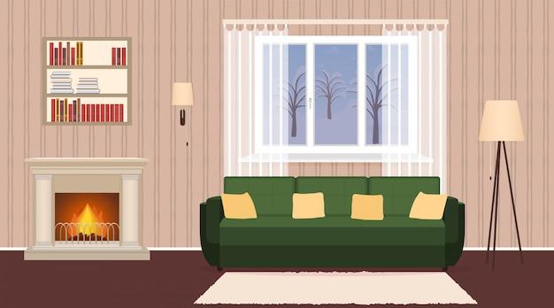 Interiore del salone con camino, divano, lampade e libreria. design della stanza domestica con fuoco ardente e finestra. Vettore Premium