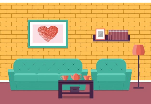 Interiore del salone in stile piatto. grafico. Vettore Premium
