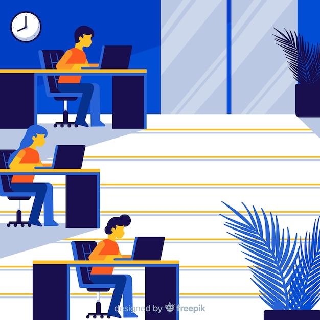 Interiore dell'ufficio professionale con design piatto Vettore gratuito