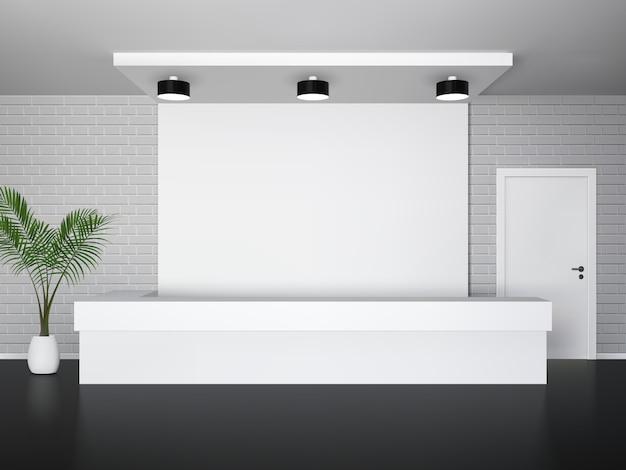 Interiore di ricezione con la reception della palma e la porta bianca Vettore gratuito