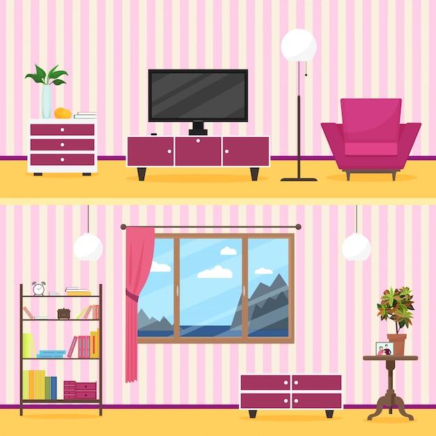 Interiore moderno del salone di stile piano variopinto Vettore Premium