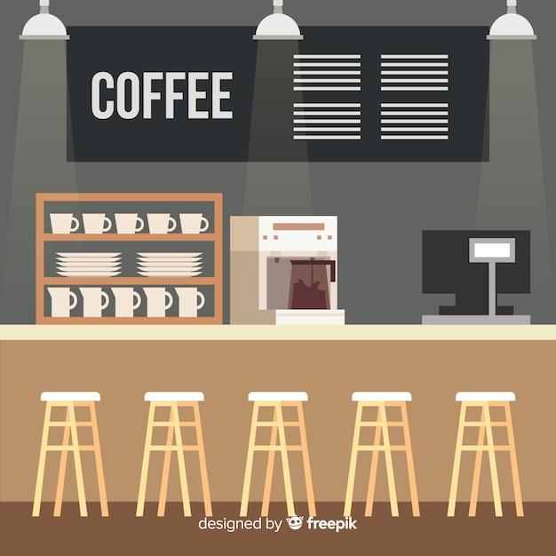 Interiore moderno della caffetteria con design piatto Vettore gratuito