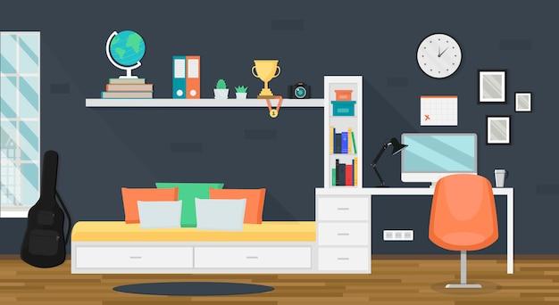 Interiore moderno della stanza dell'adolescente con area di lavoro alla moda per i compiti Vettore Premium