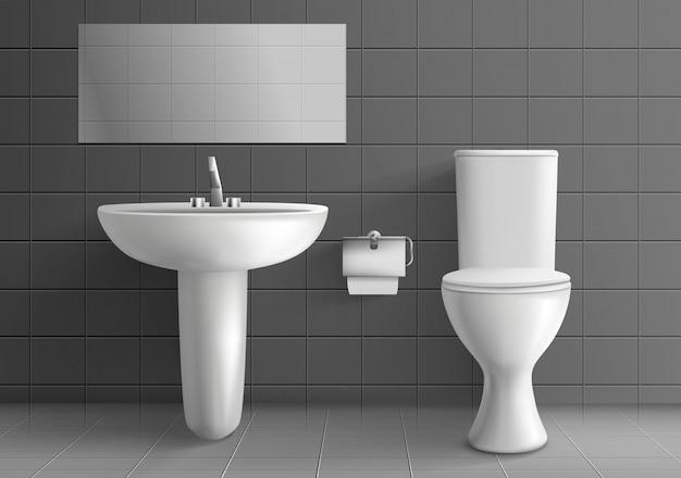 Interiore moderno della stanza della toilette Vettore gratuito