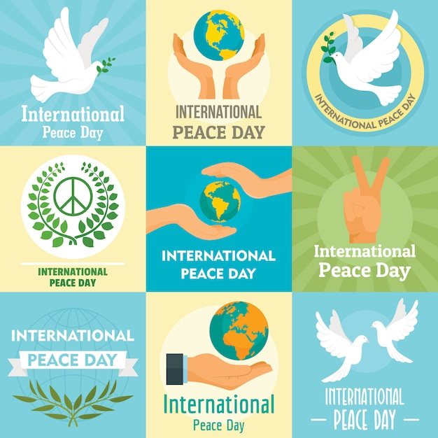 International day of peace amore globale Vettore Premium