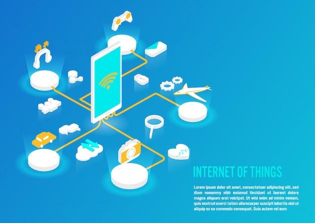 Internet del concetto di cose in design isometrico Vettore Premium