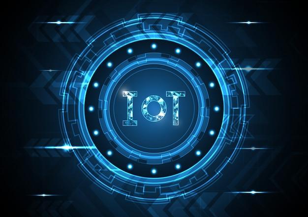 Internet delle cose tecnologia cerchio astratto Vettore Premium