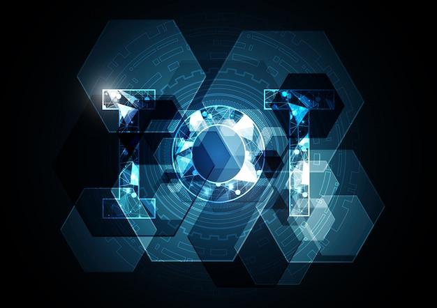 Internet di cose tecnologia astratto sfondo esagonale Vettore Premium