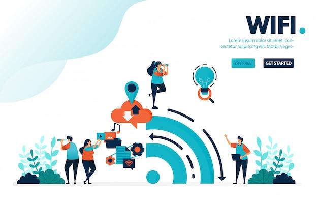 Internet e wifi, big data dalla storia dell'uso di internet sui social media. Vettore Premium