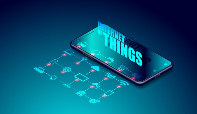 Internet iot di cose su applicazioni per smartphone Vettore Premium