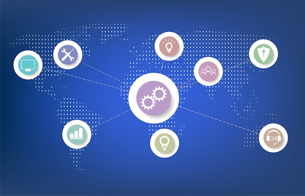 Internet of things (iot), cloud al centro, dispositivi e concetti di connettività su una rete. Vettore Premium