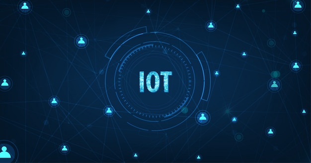 Internet of things (iot) concept.big data cloud computing network di dispositivi fisici con connettività di rete sicura su blu scuro Vettore Premium