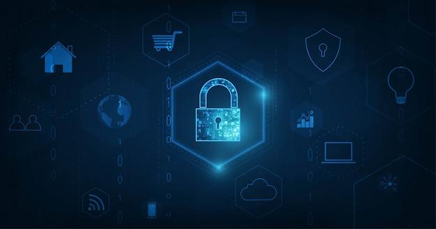 Internet of things (iot) concept.big data cloud computing network di dispositivi fisici con connettività di rete sicura su sfondo di colore blu scuro. Vettore Premium