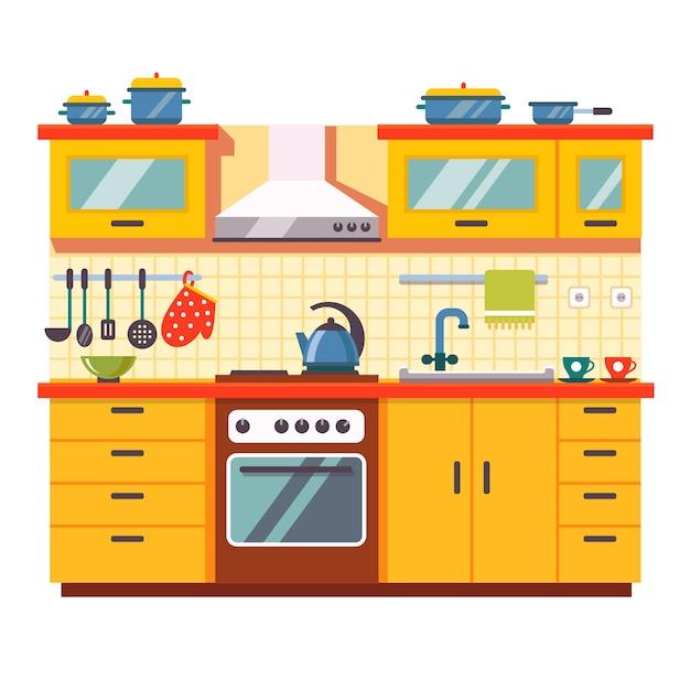 Interni della parete della cucina Vettore gratuito