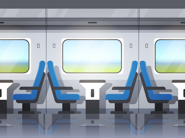 Interni moderni del treno espresso Vettore Premium