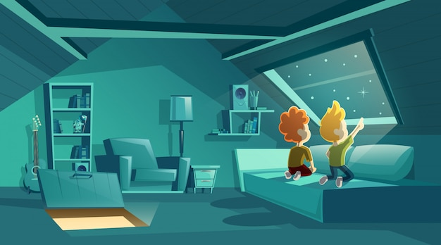 Interno attico di notte con due bambini che guardano per le stelle