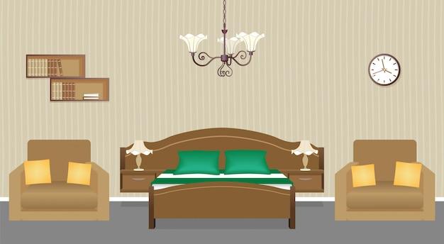 Interno camera da letto con due poltrone, letto, orologio e libreria sul muro. design della stanza domestica. Vettore Premium