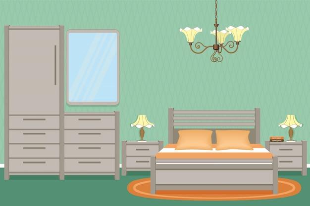 Interno camera da letto con letto, comodini, lampade da parete e mobili per la camera da letto. Vettore Premium