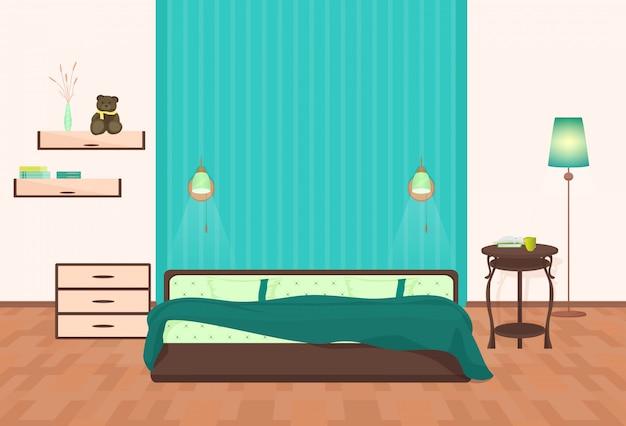 Interno camera da letto dei cartoni animati Vettore Premium